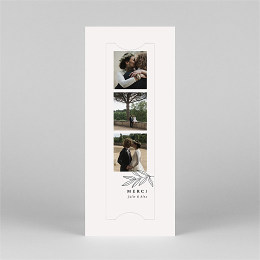 Carte de remerciement mariage Jeune pousse (marque-page) beige - Vue 2