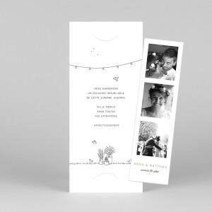 Carte de remerciement mariage Promesse bohème (marque-page) blanc