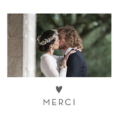 Carte de remerciement mariage Petit élégant cœur blanc finition