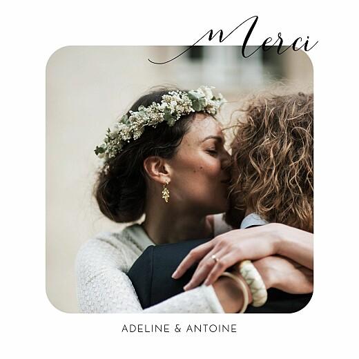 Carte de remerciement mariage Tendre innocence blanc