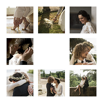 Carte de remerciement mariage Simple 8 photos (dorure) blanc finition