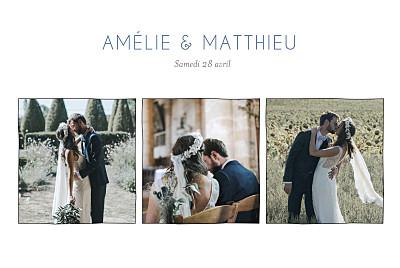 Carte de remerciement mariage Promesse sur le sable (3 photos) blanc finition