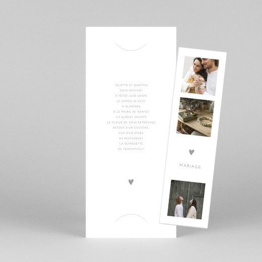 Faire-part de mariage Elégant cœur (marque-page) blanc - Vue 1