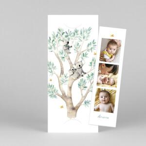 Faire-part de naissance 3 koalas en famille (marque-page) blanc
