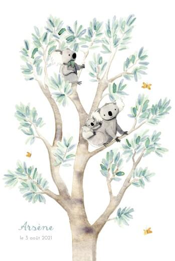 Faire-part de naissance 3 koalas en famille blanc