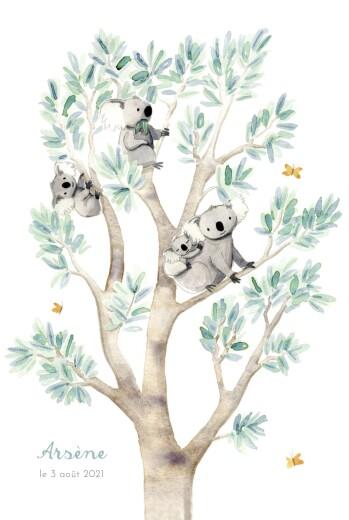 Faire-part de naissance 4 koalas en famille blanc
