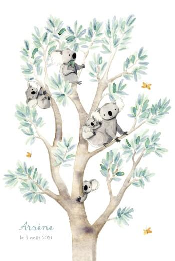Faire-part de naissance 5 koalas en famille blanc