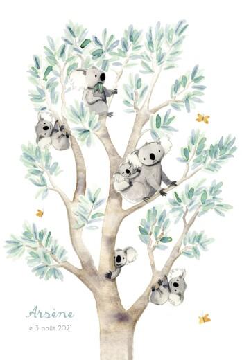 Faire-part de naissance 6 koalas en famille blanc