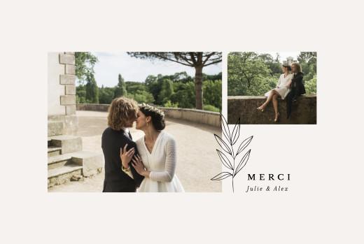 Carte de remerciement mariage Jeune pousse beige