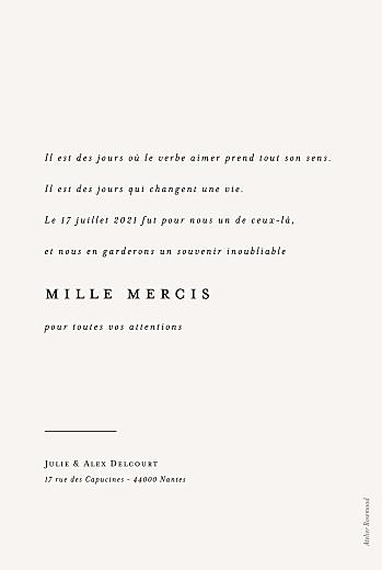Carte de remerciement mariage Jeune pousse beige - Page 2