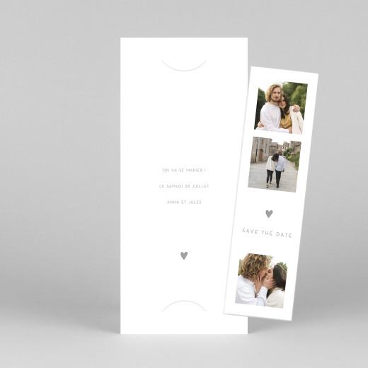 Save the Date Elégant cœur (marque-page) blanc - Vue 1