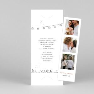Faire-part de mariage Promesse champêtre (marque-page) blanc