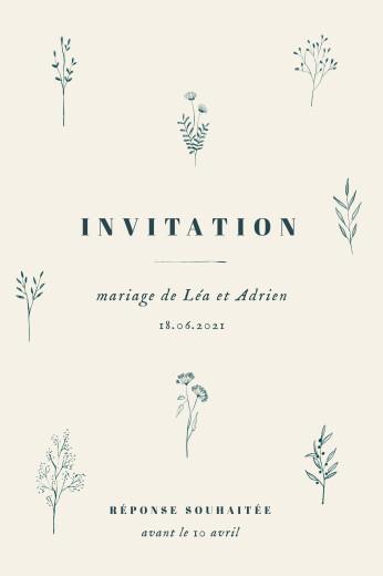 Carton d'invitation mariage Herbier (portrait) beige