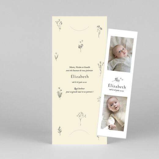 Faire-part de naissance Herbier (marque-page) beige - Vue 1