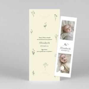 Faire-part de naissance Herbier (marque-page) beige