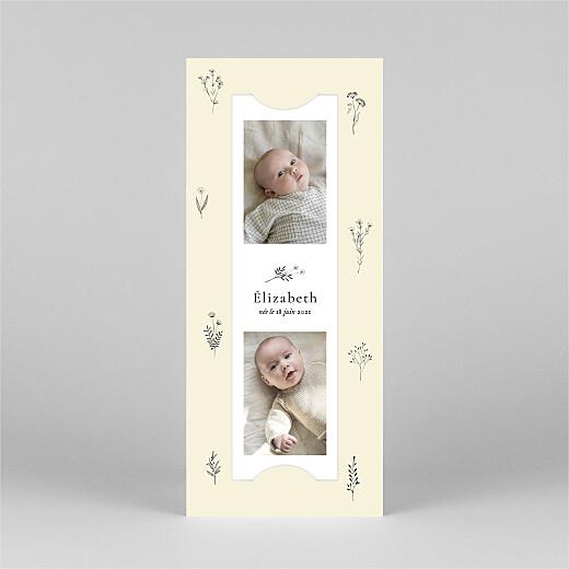Faire-part de naissance Herbier (marque-page) beige - Vue 2