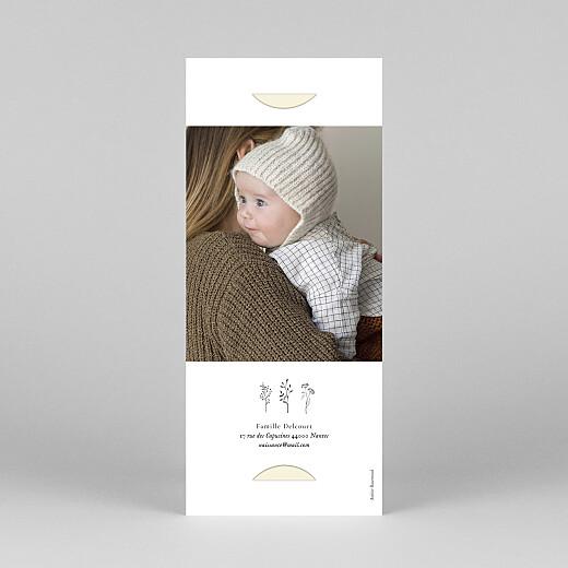 Faire-part de naissance Herbier (marque-page) beige - Vue 4