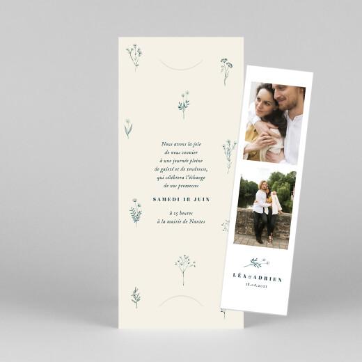 Faire-part de mariage Herbier (marque-page) beige - Vue 1