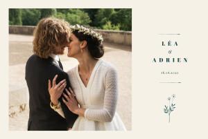 Carte de remerciement mariage Herbier (4 pages) beige