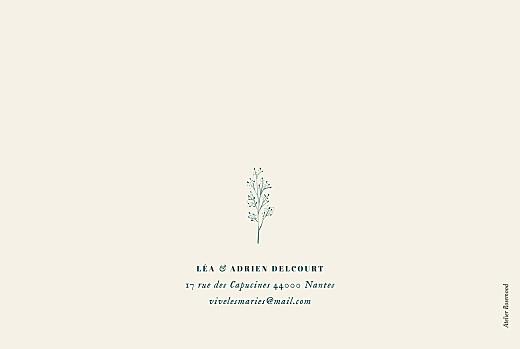 Carte de remerciement mariage Herbier (4 pages) beige - Page 4