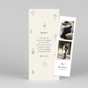 Carte de remerciement mariage Herbier (marque-page) beige