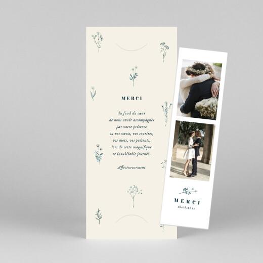 Carte de remerciement mariage Herbier (marque-page) beige - Vue 1