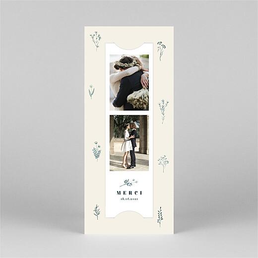 Carte de remerciement mariage Herbier (marque-page) beige - Vue 2