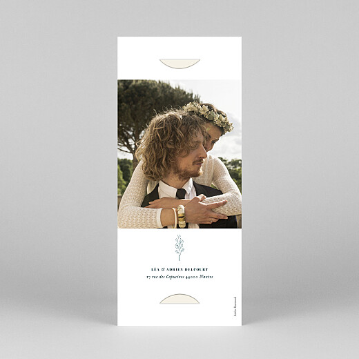 Carte de remerciement mariage Herbier (marque-page) beige - Vue 4