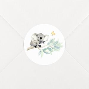 Stickers pour enveloppes naissance Koalas en famille blanc