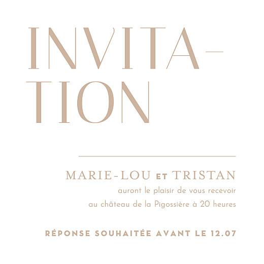 Carton d'invitation mariage Capitale beige