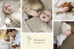 Faire-part de naissance Herbier (6 photos) beige
