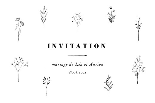 Carton d'invitation mariage Herbier blanc - Page 1
