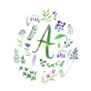 Faire-part de naissance Alphabet fleuri blanc