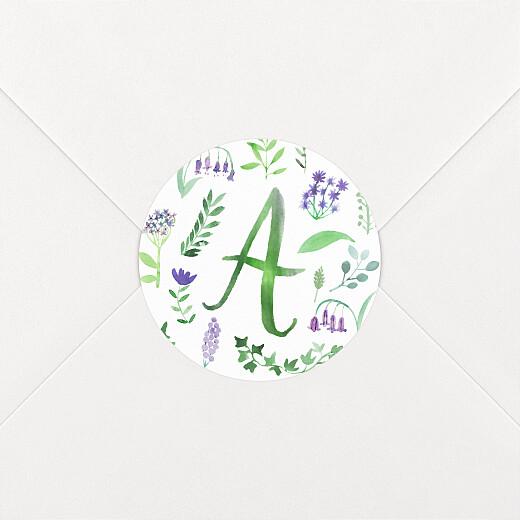 Stickers pour enveloppes naissance Alphabet fleuri blanc - Vue 2