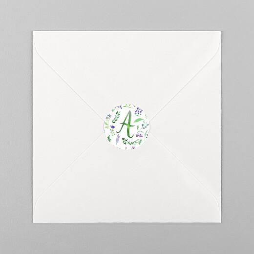 Stickers pour enveloppes naissance Alphabet fleuri blanc - Vue 1