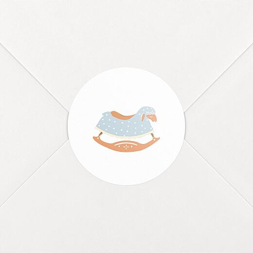 Stickers pour enveloppes naissance Mouton à bascule blanc - Vue 2