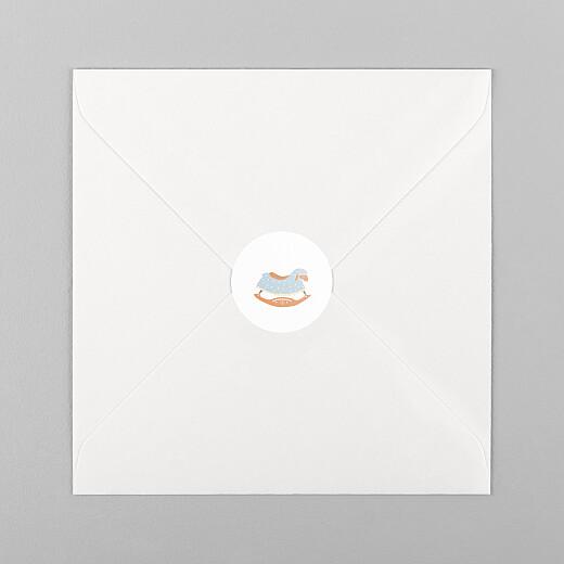 Stickers pour enveloppes naissance Mouton à bascule blanc - Vue 1
