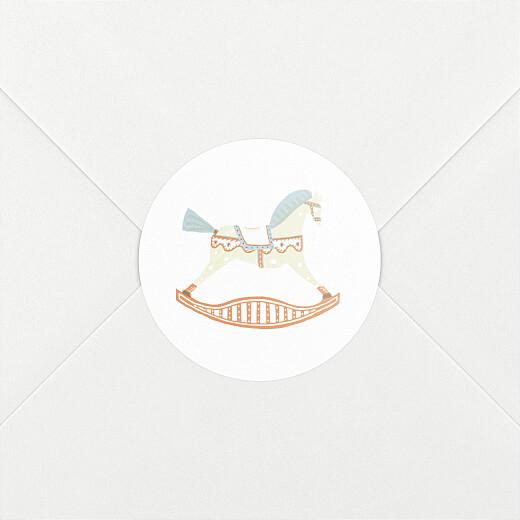 Stickers pour enveloppes naissance Cheval à bascule blanc - Vue 2