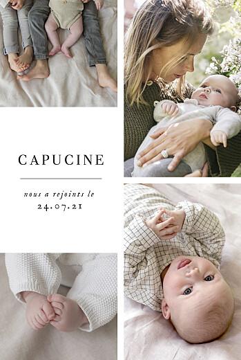 Faire-part de naissance Doux instants (portrait) blanc