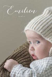 Faire-part de naissance Calligraphie (portrait) blanc