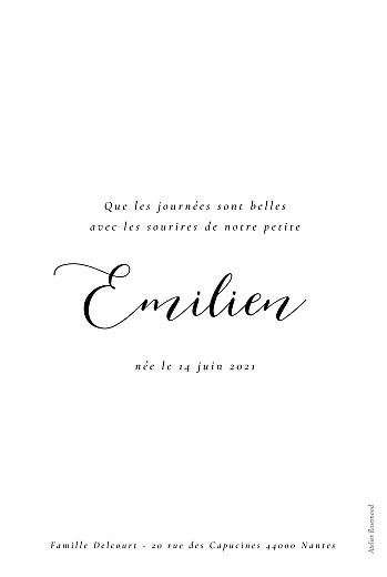 Faire-part de naissance Calligraphie (portrait) blanc - Page 2