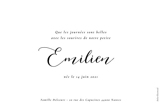 Faire-part de naissance Calligraphie (paysage) blanc - Page 2