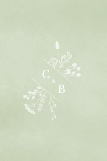 Marque-table mariage Solstice d'été vert
