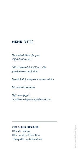 Menu de mariage Laure de sagazan (recto-verso) bleu - Page 2