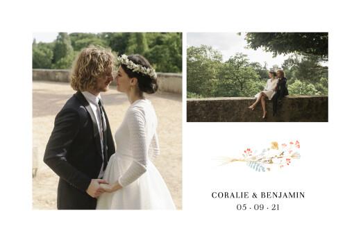 Carte de remerciement mariage Solstice d'été blanc