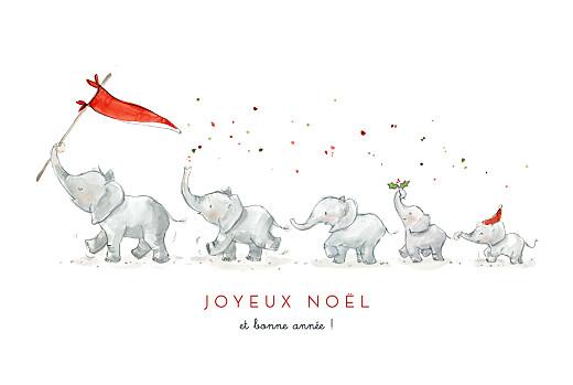 Carte de voeux Le noël des 5 éléphants blanc