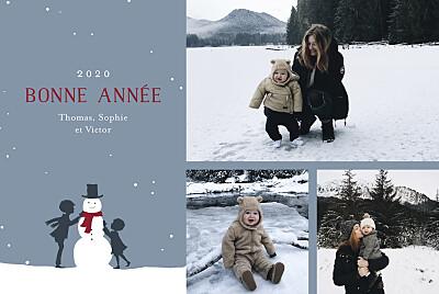 Carte de voeux Vent d'hiver (3 photos) bleu finition