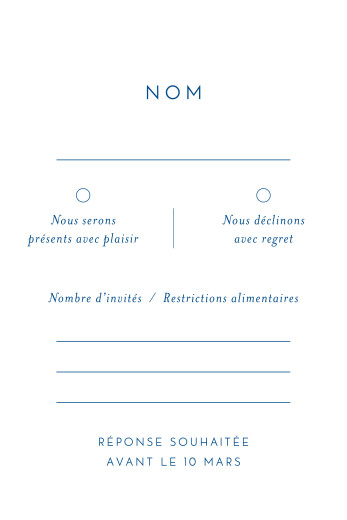 Carton réponse mariage Calligraphie bleu