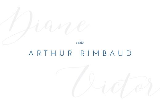 Marque-table mariage Calligraphie bleu