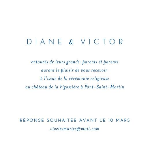 Carton d'invitation mariage Calligraphie bleu